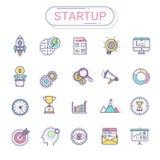 Ícones Startup - o grupo de ícones novos do negócio contém ícones do foguete, negócio, planeamento, alvo, gráfico, árvore do dinh ilustração stock