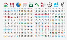 800 ícones superiores Cantos redondos Cores lisas Foto de Stock
