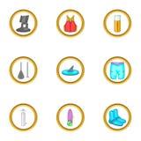 Ícones surfando ajustados, estilo dos desenhos animados Imagens de Stock Royalty Free