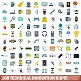100 ícones técnicos ajustados, estilo liso da inovação ilustração do vetor