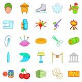 Ícones teatrais ajustados, estilo dos desenhos animados Imagem de Stock