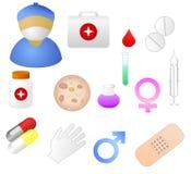 Ícones temáticos médicos Fotografia de Stock