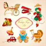 Ícones tirados coloridos brinquedos ajustados ilustração royalty free