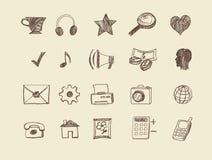 Ícones tirados da Web Fotos de Stock