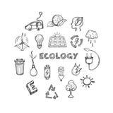 Ícones tirados mão da ecologia ajustados ilustração royalty free
