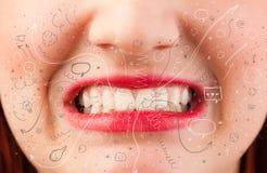 Ícones tirados mão de sopro e símbolos da boca bonita da mulher Fotografia de Stock