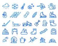 Ícones tirados mão do inverno 30 tirados com uma caneta com ponta de feltro ilustração do vetor