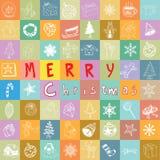 Ícones tirados mão do Natal ajustados Ilustração Fotos de Stock Royalty Free