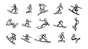 Ícones tirados mão do snoboarder dos estudos de movimento ilustração royalty free