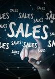Ícones tocantes das vendas da mulher de negócios com sua rendição do dedo 3D Fotografia de Stock Royalty Free