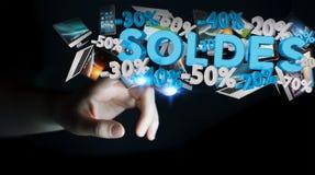 Ícones tocantes das vendas da mulher de negócios com sua rendição do dedo 3D Foto de Stock Royalty Free