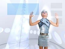 Ícones tocantes de prata do dedo da menina futurista do miúdo Foto de Stock