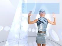 Ícones tocantes de prata do dedo da menina futurista do miúdo Imagem de Stock Royalty Free