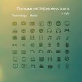 Ícones transparentes da tipografia. Imagens de Stock