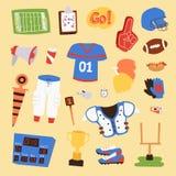 Ícones uniformes do esporte do jogador do vetor do futebol americano isolados no fundo Ícones uniformes do capacete dos povos do  Foto de Stock