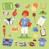 Ícones uniformes do esporte do jogador do vetor do futebol americano isolados no fundo Ícones uniformes do capacete dos povos do  Imagem de Stock