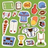 Ícones uniformes do esporte do jogador do vetor do futebol americano isolados no fundo Ícones uniformes do capacete dos povos do  Fotografia de Stock