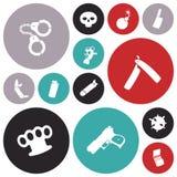 Ícones variados do projeto liso ilustração stock