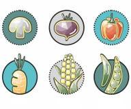 ícones vegetais originais no círculo: milho, cogumelo, beterrabas, pimentas, cenouras, ervilha Imagens de Stock Royalty Free