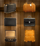 Ícones velhos da bagagem ilustração stock