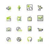 ícones Verde-cinzentos dos media Imagens de Stock