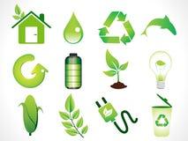 Ícones verdes abstratos do eco ajustados Fotografia de Stock