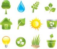 Ícones verdes ajustados Ilustração Royalty Free