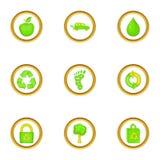 Ícones verdes ajustados, estilo dos desenhos animados Imagens de Stock