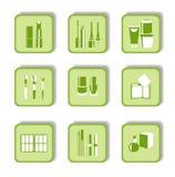 Ícones verdes cosméticos para o projeto de Web Foto de Stock