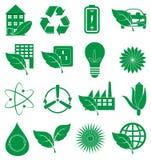 Ícones verdes da ecologia ajustados Fotos de Stock Royalty Free