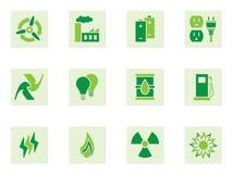 Ícones verdes da energia Imagem de Stock