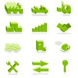 Ícones verdes da finança e da indústria Fotografia de Stock Royalty Free