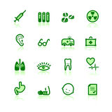 Ícones verdes da medicina Fotografia de Stock