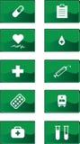Ícones verdes da medicina ajustados Fotografia de Stock Royalty Free