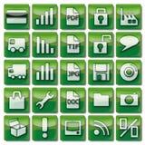 Ícones verdes da Web 26-50 Fotografia de Stock Royalty Free