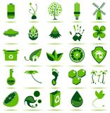 Ícones verdes de Eco Imagens de Stock Royalty Free