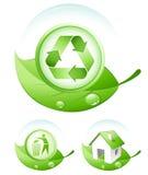 Ícones verdes do conceito Foto de Stock Royalty Free