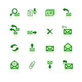 Ícones verdes do correio Imagens de Stock Royalty Free