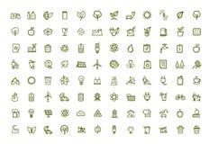 Ícones verdes do eco do vetor ajustados Fotos de Stock Royalty Free