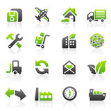Ícones verdes do transporte Imagens de Stock