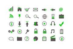 Ícones verdes do Web Fotos de Stock