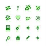 Ícones verdes do Web Imagens de Stock Royalty Free