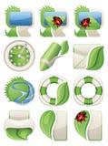 Ícones verdes do Web da natureza Imagens de Stock Royalty Free