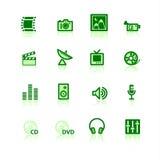 Ícones verdes dos media Fotografia de Stock Royalty Free