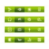 Ícones verdes dos media da barra ilustração stock