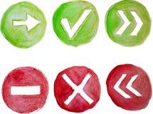 Ícones verdes e vermelhos da aquarela do vetor Imagem de Stock