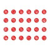 Ícones vermelhos ilustração do vetor