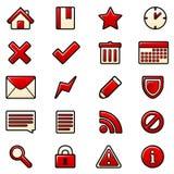 Ícones vermelhos ajustados Imagem de Stock Royalty Free