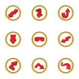 Ícones vermelhos ajustados, estilo da seta dos desenhos animados Imagens de Stock