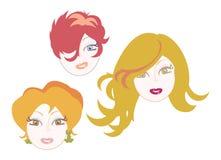 Ícones vermelhos das meninas do cabelo ilustração royalty free